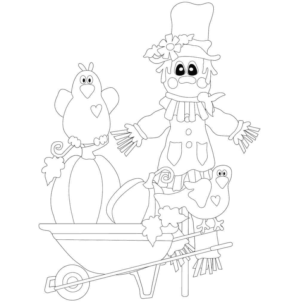 Free Digital Stamp from Rhoda Design Studio Scarecrow and Crows.