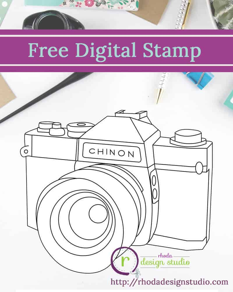 Free digital retro camera. Digital stamps by Rhoda Design Studio http://rhodadesignstudio.com/blog