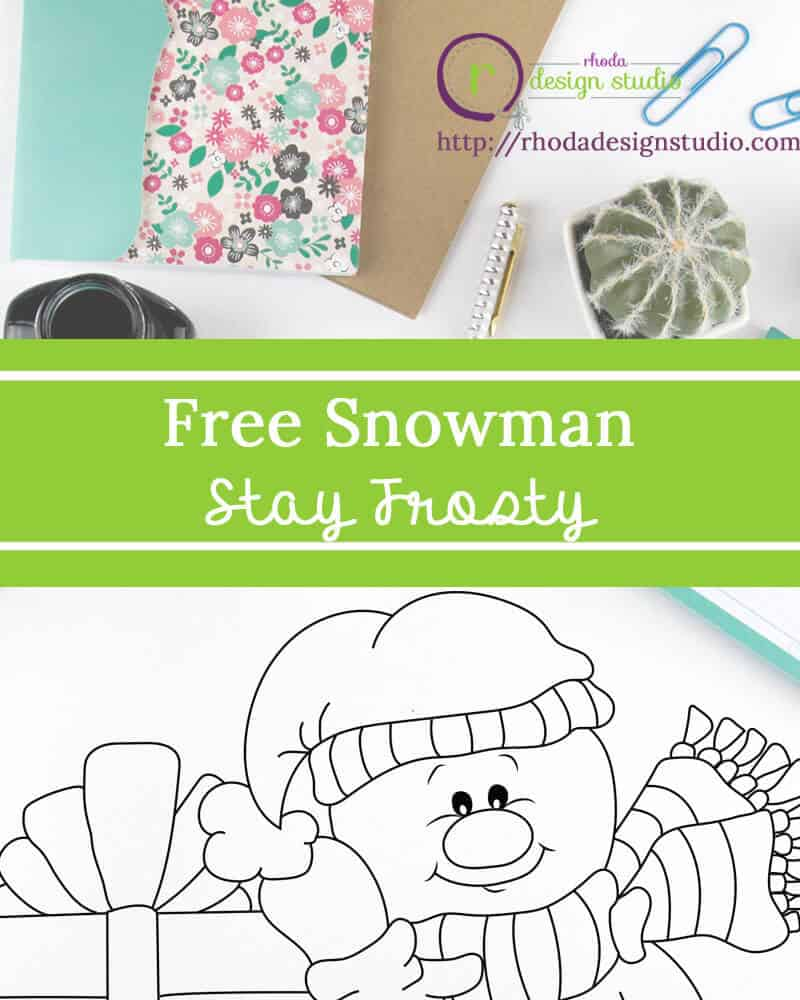 A Free Snowman Digital Stamp. Visit the blog to download the image and find more! http://rhodadesignstudio.com