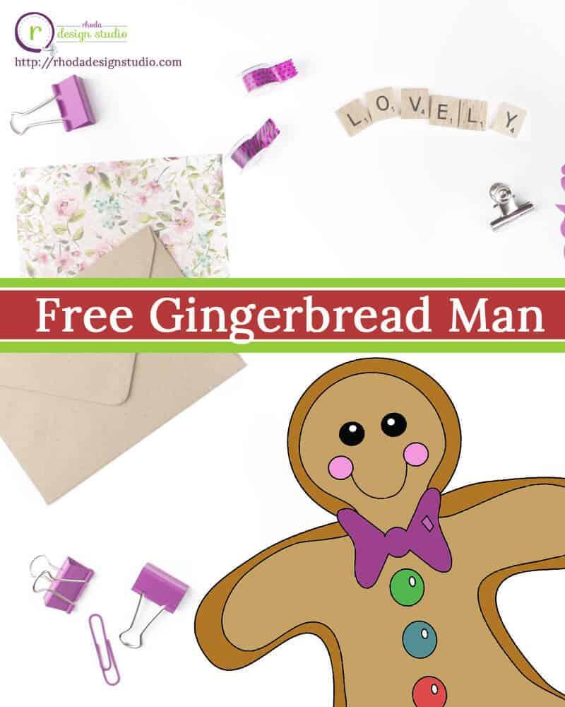 Free digital stamp: Christmas Gingerbread Man from Rhoda Design Studio http://rhodadesignstudio.com/blog