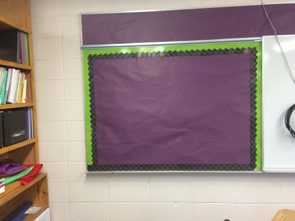 New covered bulletin board. Rhoda Studio classroom.