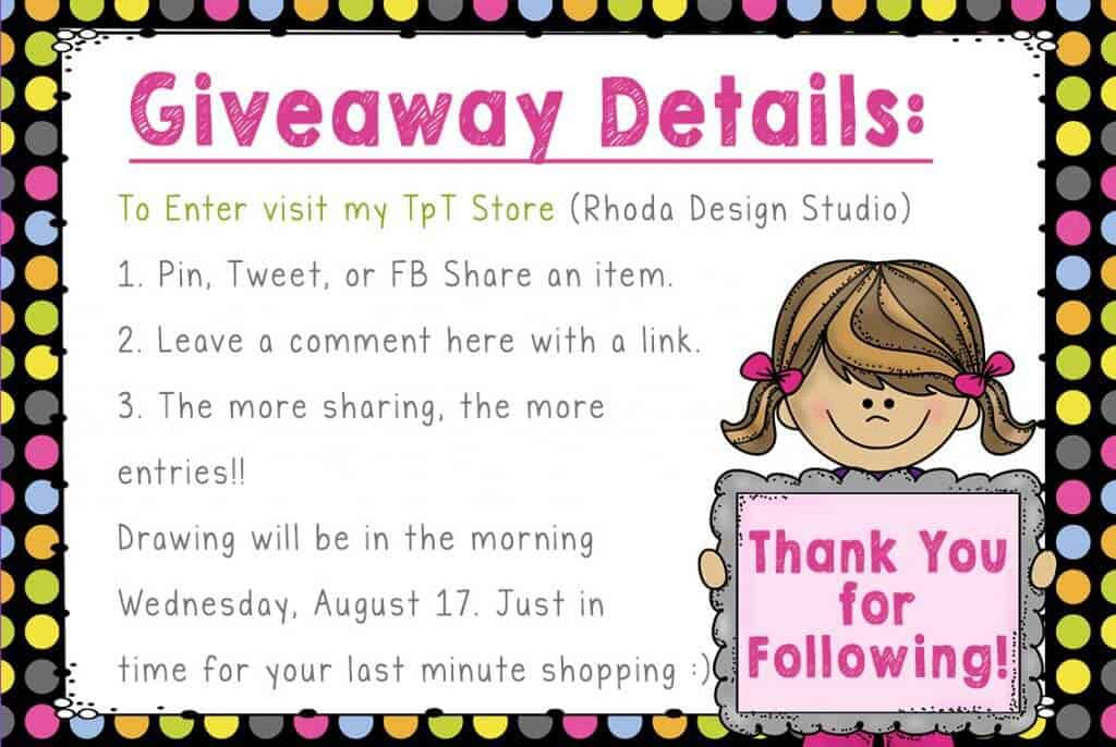 Details for a Teachers Pay Teachers Gift Card Giveaway Rhoda Design Studio