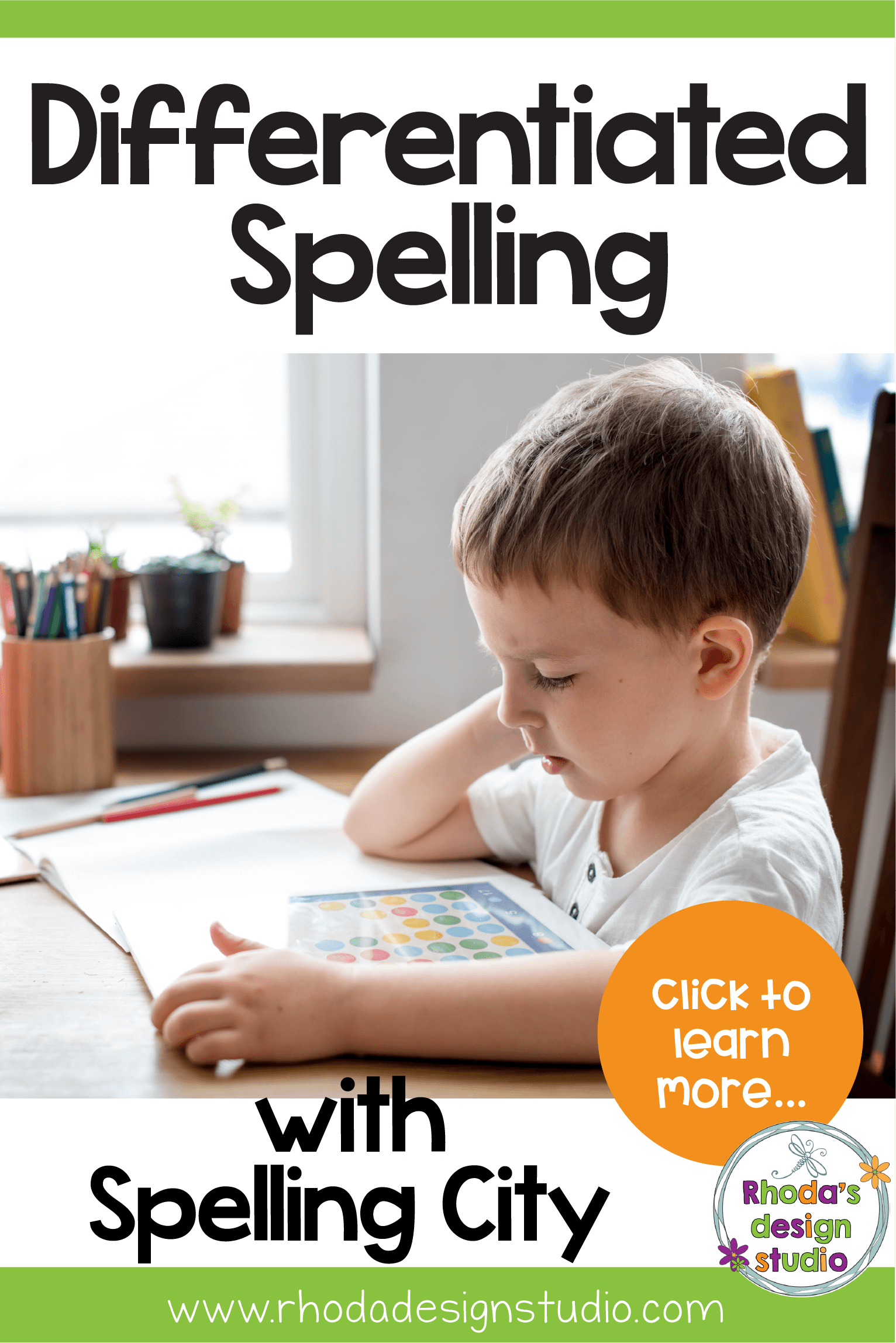 Use Spelling City to help differentiate your spelling levels. Strategies to help students spell by providing activities and games that are fun and rigorous. Spelling lists are provided for elementary and upper elementary grades. #rhodadesignstudio