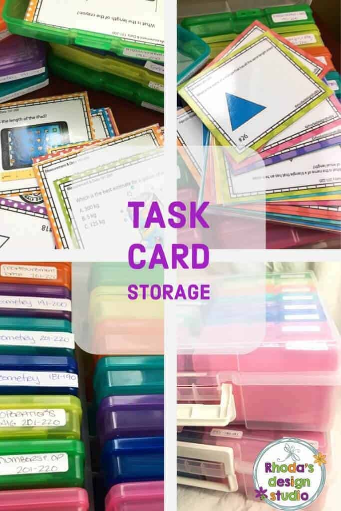 Task card organization for your classroom. Options to help you store and reuse your task cards every year. Rhoda Design Studio