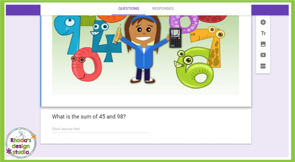 Use any image for a visual question or to dress up your quiz. Google Forms in the classroom is a great way for teachers to save time in an elementary classroom.