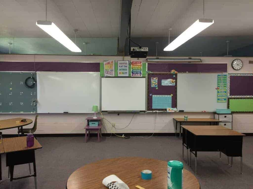 Front of classroom bulletins. Smartboard. Dry Erase boards. Calendar on dry erase board so it can be magnetic and interactive. Rhoda Studio