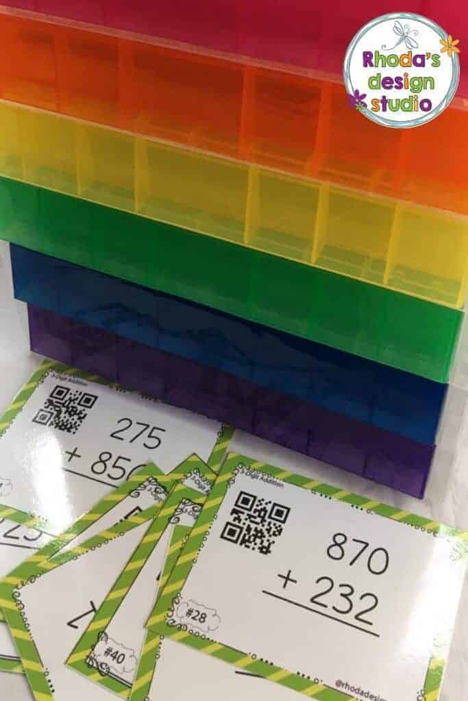 rainbow bins to organize task cards in your classroom