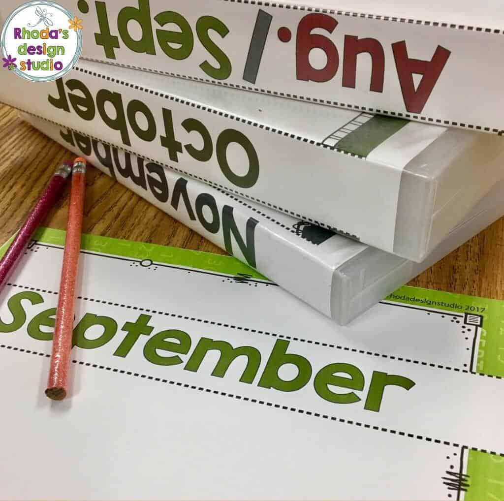 organize task cards with binders and bins