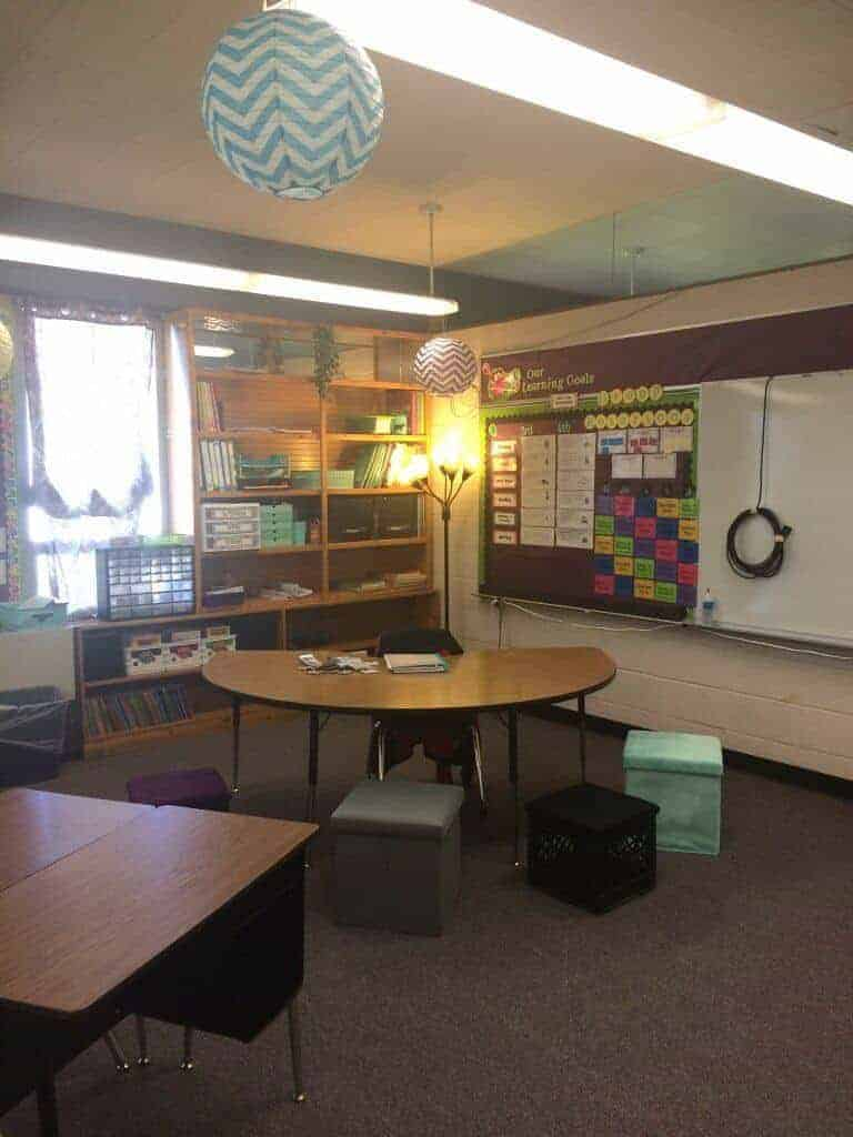 Makeover Classroom Reveal 2016-17 Rhoda Design Studio. Alternate seating, lighting, and Daily 5 reading/math. 3rd and 4th grade classroom.