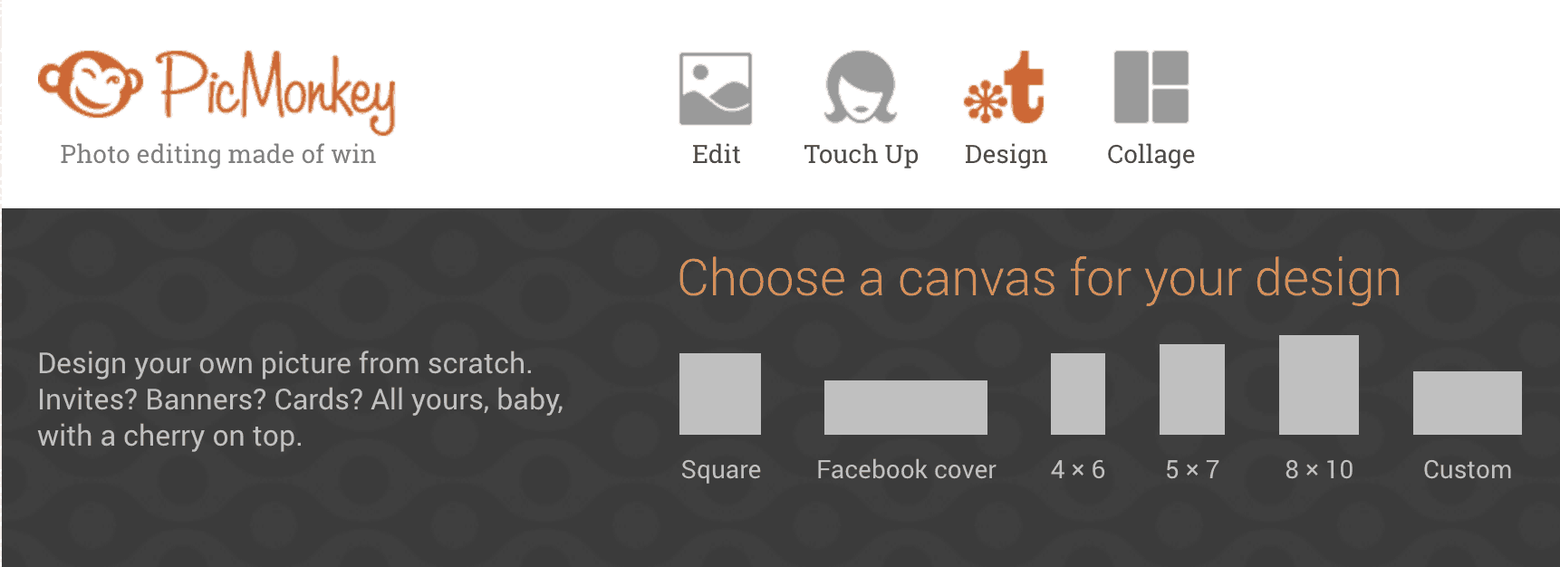 Choose the shape of your canvas on PicMonkey