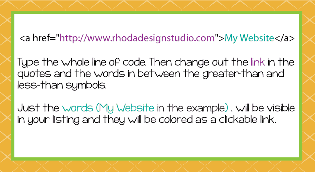 The basics of selling TPT products. How to create a clickable link in your listing. Code for an active link. Rhoda Design Studio