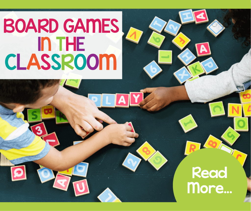 Teaching with board games is a fun way to have students enjoy their learning. Great for math and literacy centers. Kids will have fun playing and students will enjoy that they are practicing math and reading skills at the same time.