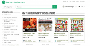 Shopping on the Teachers Pay Teachers Site for teacher created materials.