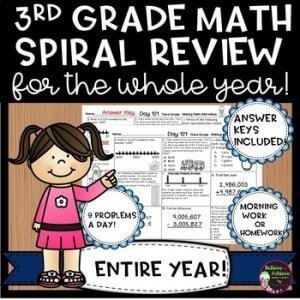 3rd Grade math spiral review for the whole year. k-5 math teaching resources for teachers in the classroom.