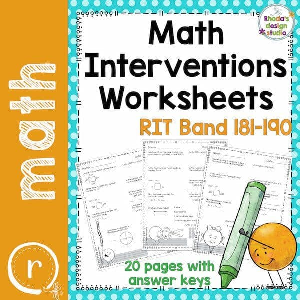 Math Interventions Worksheets. RIT Band 181-190 worksheets for student review and practice. k-5 math teaching resources for teachers in the classroom.