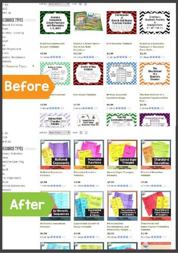 Before and after TPT shop makeovers. Increase sales and drive more traffic.