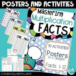 Multiplication fact posters. K-5 Math Teaching Resources. 70 activities and posters for facts 1-12