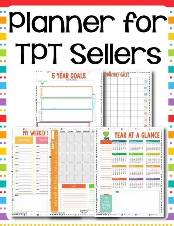 printable planner for tpt sellers