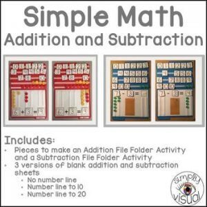 Simple math addition and subtraction file folder games and activities. k-5 math teaching resources for teachers in the classroom.