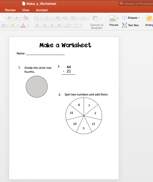 Make math worksheets that you can use with your students or sell online. Worksheet printables are a great way to differentiate assessments for your classroom and they are easy to make!