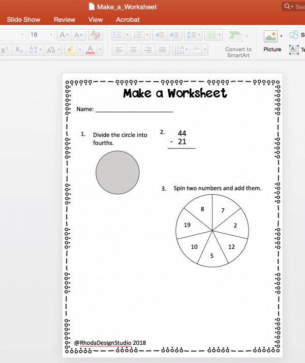 Make math worksheets that you can use with your students or sell online. Worksheet printables are a great way to differentiate assessments for your classroom and they are easy to make! Add borders and clipart to dress them up.