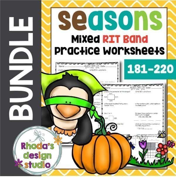 Differentiated math worksheets for RIT Bands 181-220. Practice math skills and concepts with seasonal themes.
