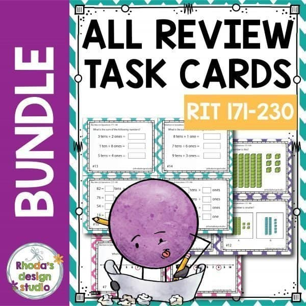Math task card bundle for test data prep and math center practice.