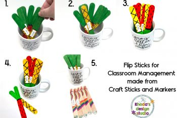 Use flip sticks made from craft sticks to help with classroom management. Keep track of which students you have called on and which still need a turn. Create a llama, unicorn, watermelon, or pineapple stick to match your class theme.