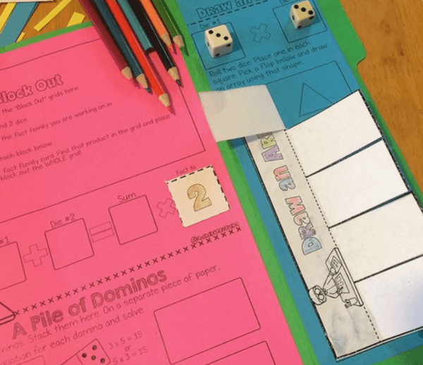 Using supplies such as cards and dice will help kids learn their multiplication facts.
