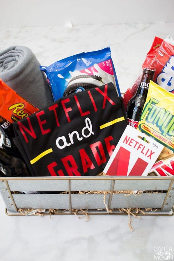netflix and grade movie night basket for teacher Christmas gifts