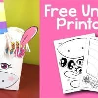 Create a whimsical unicorn Valentine box or party decoration with this free printable.