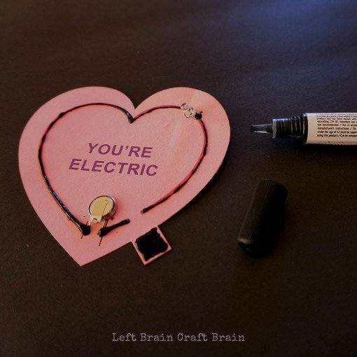 electrical paint circuit for valentines day craft projects