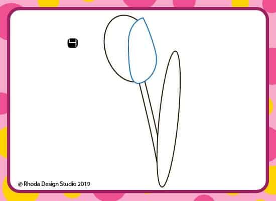How to draw a flower step by step. Step 4.