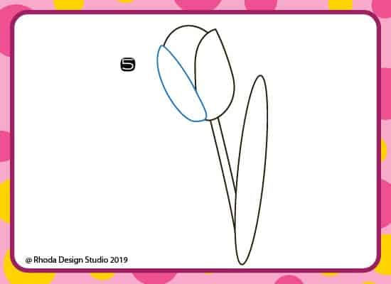 How to draw a flower step by step. Step 5.