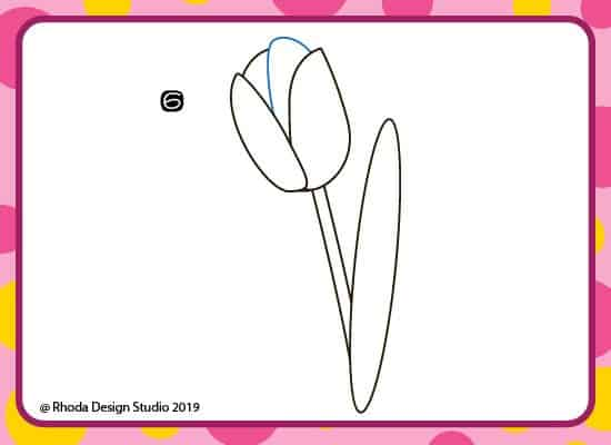 How to draw a flower step by step. Step 6.