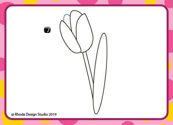 How to draw a flower step by step. Step 7.