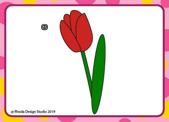 How to draw a flower step by step. Step 8.