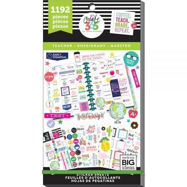 Teacher planner stickers for a teacher supplies list.